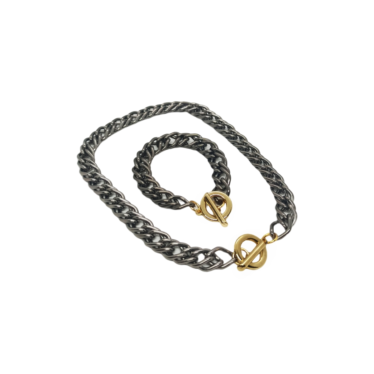 Conjunto  Colar / Corrente + Pulseira Ródio Negro, Fecho Dourado.