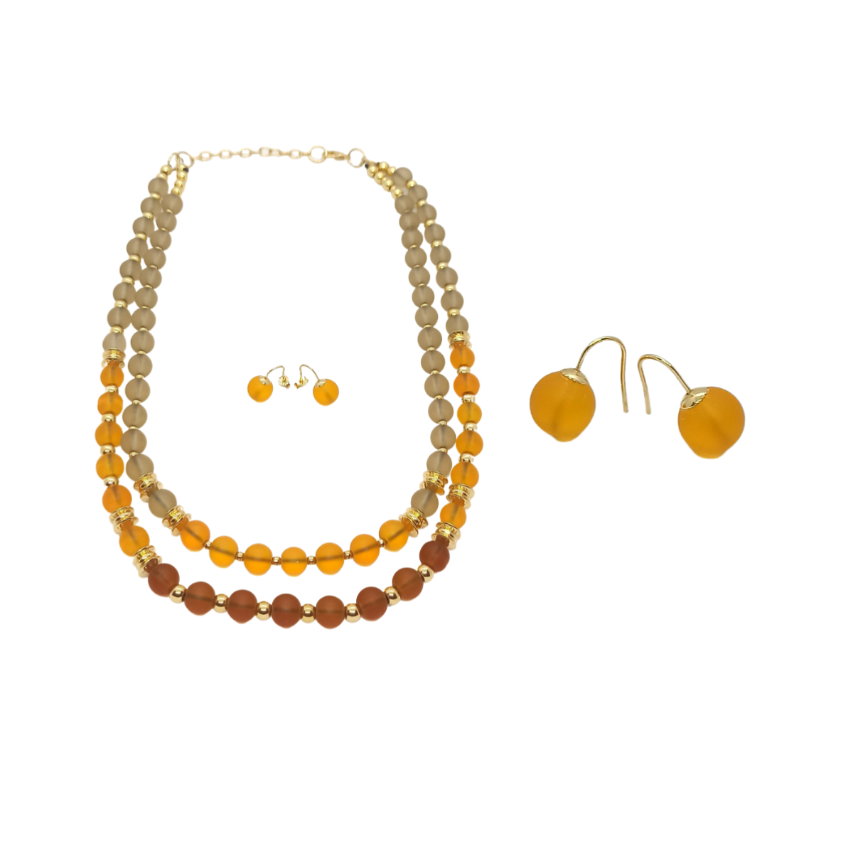 Conjunto Colar e Brinco em Murano com Detalhes Dourados.