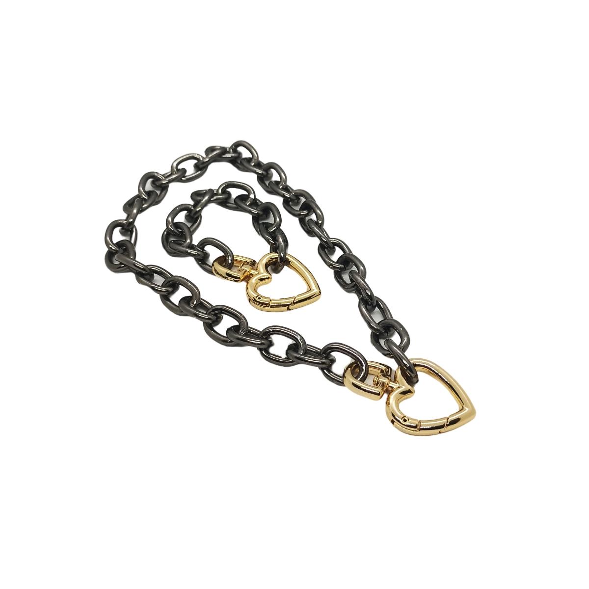 Conjunto  Colar + Pulseira Ródio Negro, Mosquetão de Coração Dourado.