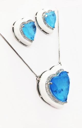 Conjunto Coração Esmaltado Branco, Pedra Azul Fusion Premium