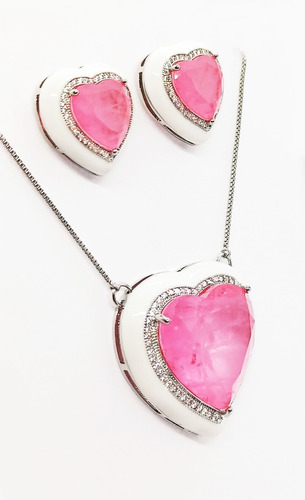 Conjunto Coração Esmaltado Branco, Pedra Pink Fusion Premium