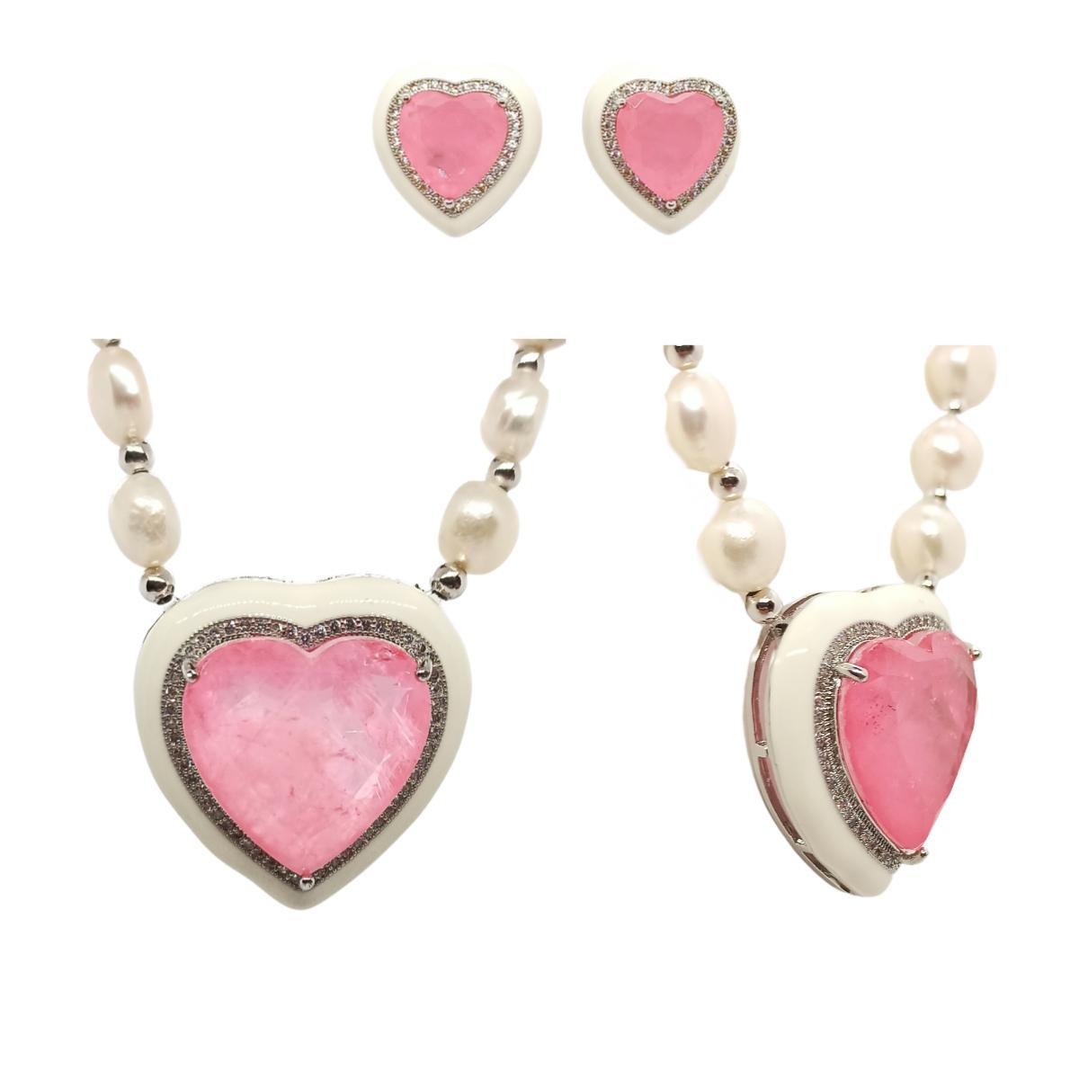 Conjunto Coração Esmaltado Branco, Pedra Pink Fusion Premium, Colar em Pérolas Naturais.