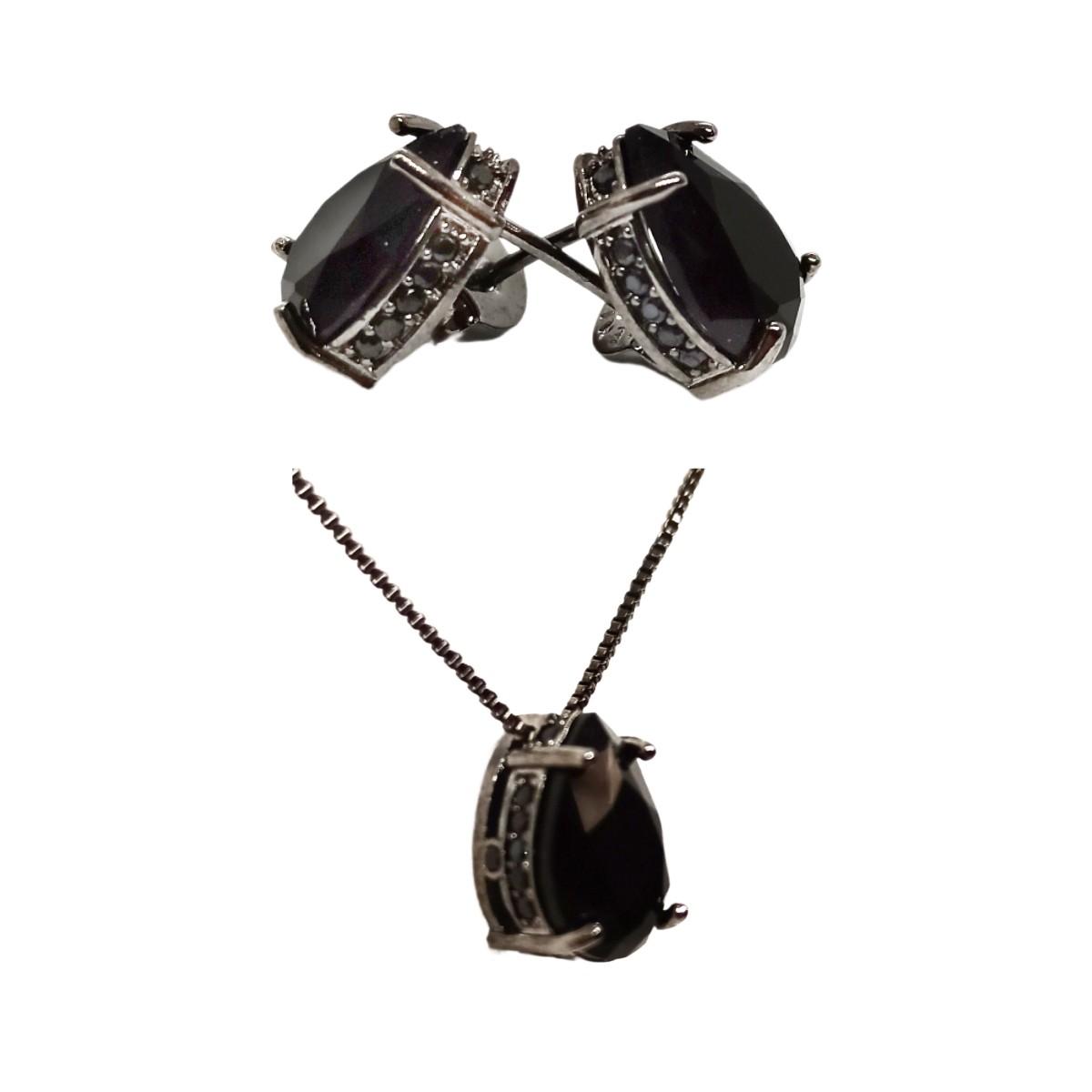 Conjunto Gota Delicado  8 x 12, Cravação Lateral Com Zircônias, Ródio Negro.