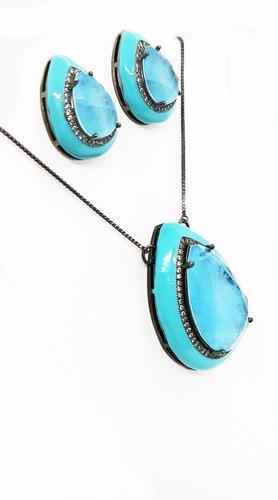 Conjunto Gota Esmaltada Azul, Pedra Azul (topázio Sky) Fusion