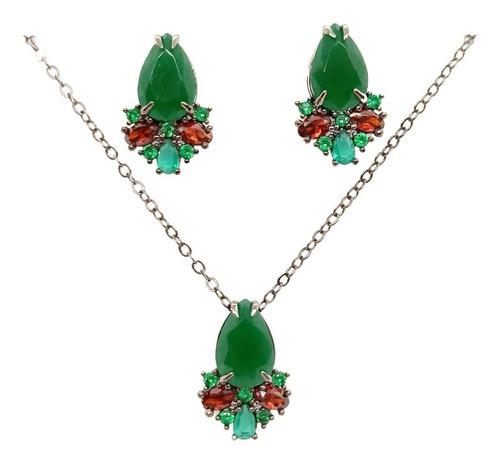Conjunto Gota Jade Verde, Crisopázio, Granada, Ródio Negro.