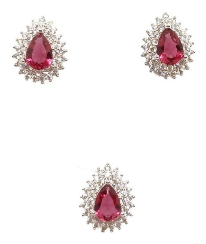 Conjunto Gota Princesinha, Cravação em Zircônia e Cristal, Prata 925