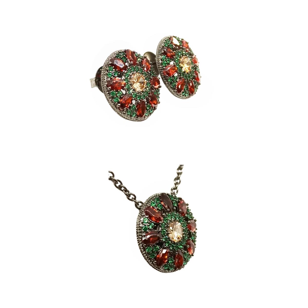 Conjunto Mandala Champanhe/verde/granada, Ródio Negro.