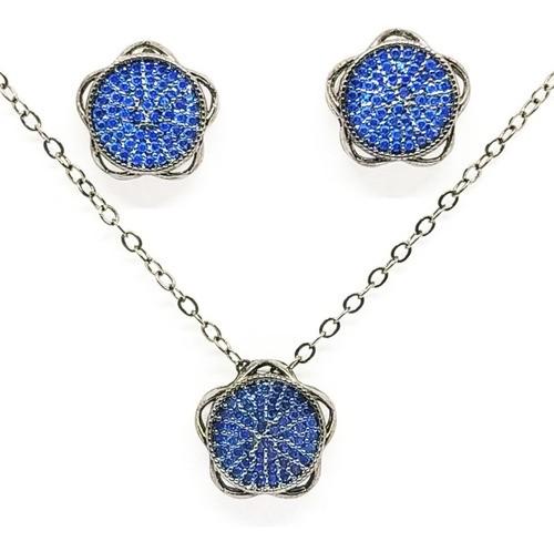 Conjunto Mandala Cravação Em Zircônia Azul