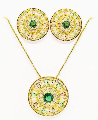 Conjunto Mandala Redonda, Pedras Coloridas, Folheada a Ouro 18k