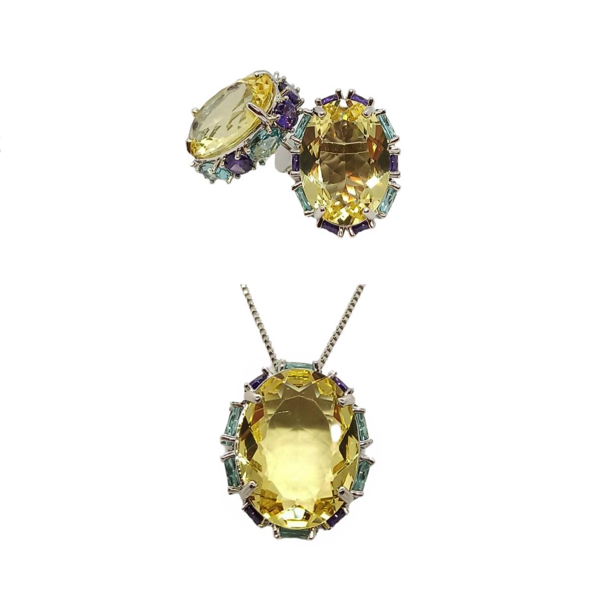 Conjunto Oval Cristal e Zircônia, Com Cravação nas Laterais, Folheado.