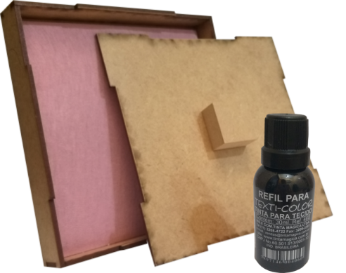 Kit  Carimbeira Almofada Artesanal + Tinta Para Tecido 30ml