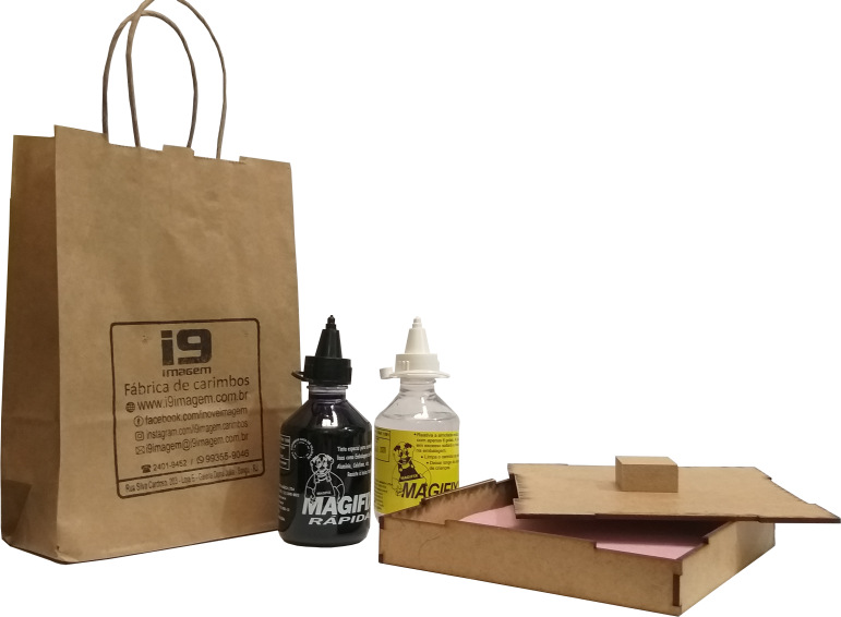 Kit  Carimbeira (Almofada) artesanal (15 x 15cm) + Tinta Secagem Rápida  120ml + 1 Reativador 120ml