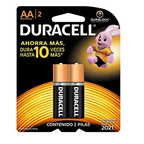 2 Pilhas Duracell Alcalina AAA Palito Cartela C/2
