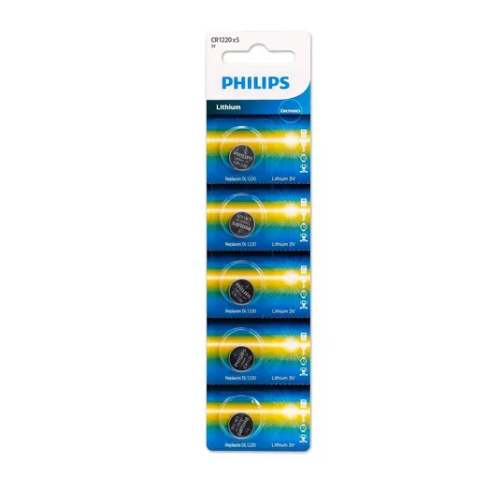 Bateria Philips Cr 1220 3v Lithium Cartela C/ 5 Unid