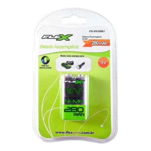 Bateria Pilha 9v 280mah Recarregável Flex