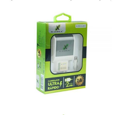 Carregador Ultra Rápido Celular iPhone 2usb 2.4a X-cell ur4