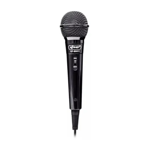 Microfone Com Fio Preto Knup Dinãmico Kp-m0011
