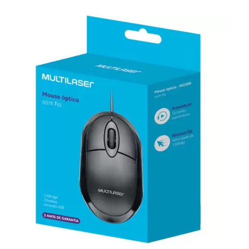 Mouse com Fio Classic Box Óptico Full Black USB MO300 Multilaser