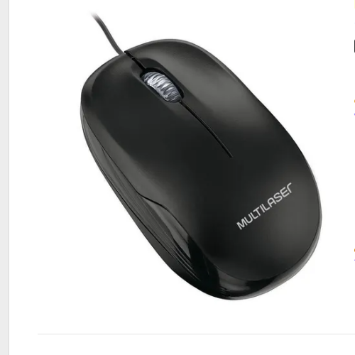 Mouse Multilaser Mo255 Optico Preto 1200dpi Usb Preto