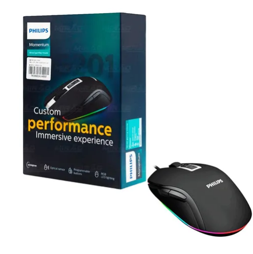 Mouse Óptico Gamer C/ Fio Usb Led 2400 Dpi Philips Spk9212b