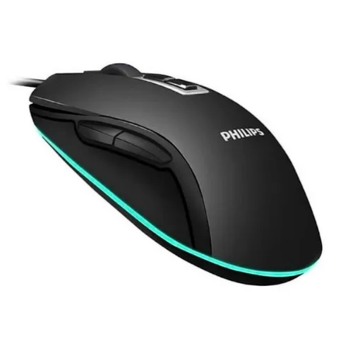Mouse Óptico Gamer C/ Fio Usb Led 2400 Dpi Philips Spk9212b