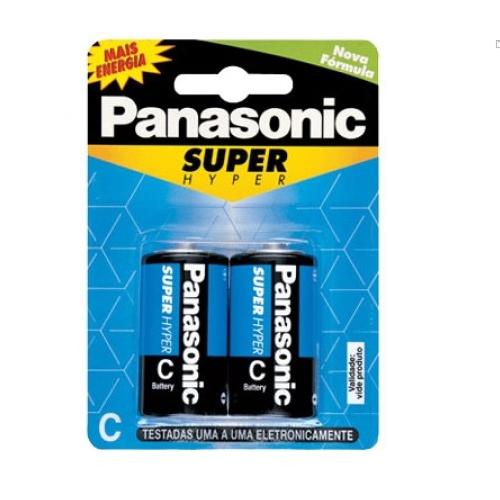 Pilha C Média Panasonic carvão cartela com 2 Unidades