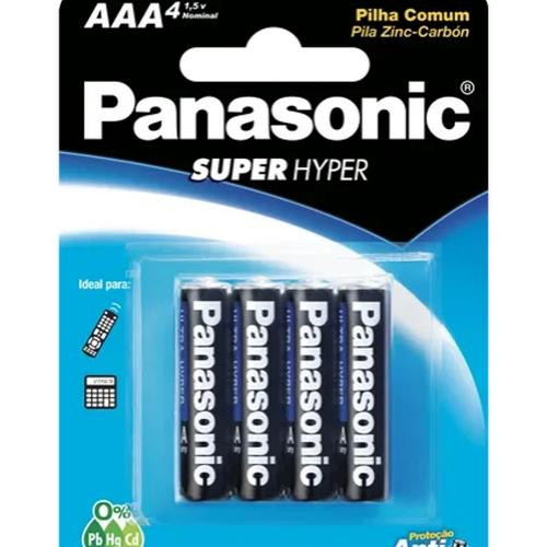 Pilha Palito Aaa Panasonic Comum 1 Cartela C/ 4 Unidades