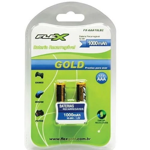 Pilha Recarregavel Palito Aaa Flex Gold 1000mah Flex C/2
