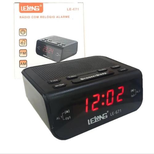 Rádio Relógio Digital Am/Fm Lelong Le-671