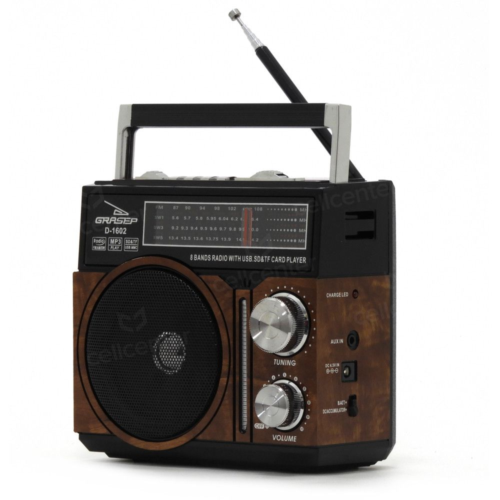Radio Retrô Recarregável Am Fm 10w Sd Mp3 Grasep D-1602