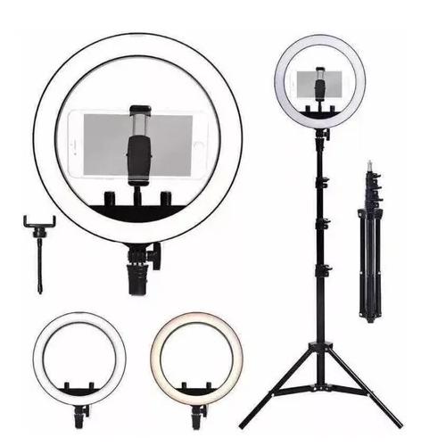 Ring Light Completo Iluminador Portátil 26cm Com Tripé 1.6m DS10829