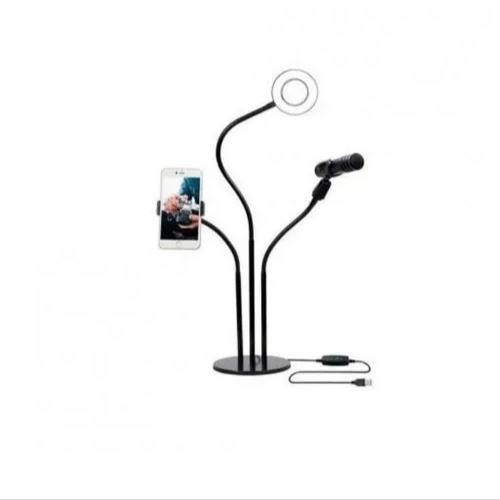 Ring Light Led Com Suporte Para Celular E Suporte Microfone