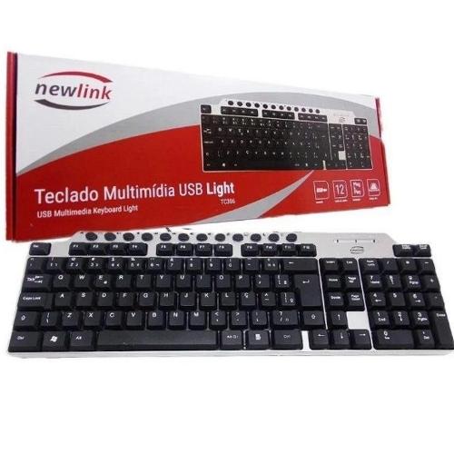 Teclado USB Multimídia Preto e Prata Light NewLink - TC306