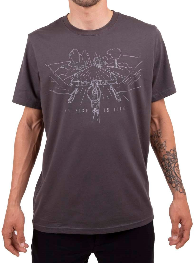Camiseta Casual Go Bike Is Life Cinza