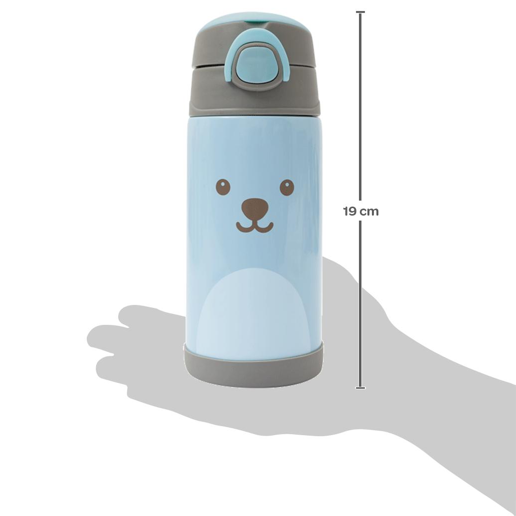 Copo Térmico Parede Dupla Com Canudo 400ml Gumy - Azul- Buba