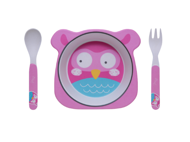 Kit Alimentação Coruja Eco Girotondo Baby - 3 peças