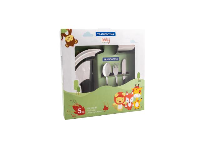 Kit Infantil Introdução Alimentar Tramontina para Refeição em Aço Inox 5 Peças