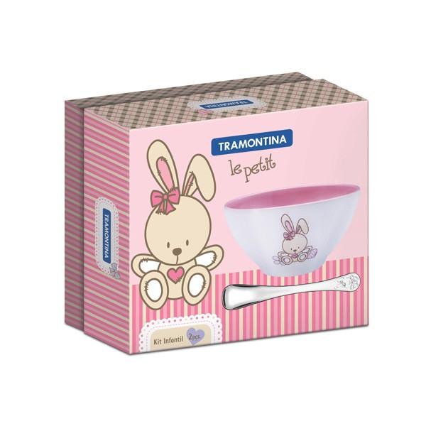 Kit Infantil Tramontina Le Petit Rosa com Tigela em Cerâmica e Colher em Aço Inox 2 Peças
