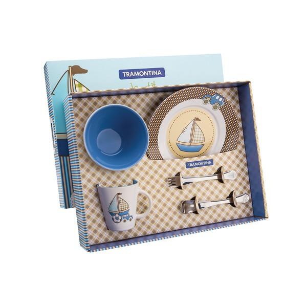 Kit para Introdução Alimentar Tramontina Le Petit em Cerâmica e Aço Inox Azul 5 Peças