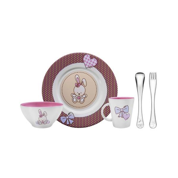 Kit para Introdução Alimentar Tramontina Le Petit em Cerâmica e Aço Inox Rosa 5 Peças