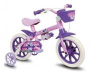 Bicicleta Infantil Aro 12 Rosa e Roxa com Cesta