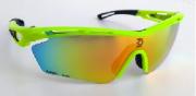 Óculos de Ciclismo e Corrida Dvorak One Amarelo fluor  com 3 lentes fumê, espelhada e transparente