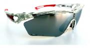 Óculos de Ciclismo e Corrida Dvorak One Cristal/Vermelho  com 3 lentes fumê, espelhada e transparente