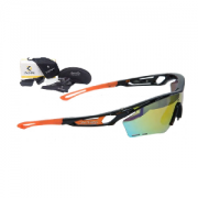 Óculos de Ciclismo e Corrida Dvorak One Laranja/Preto  com 3 lentes fumê, espelhada e transparente