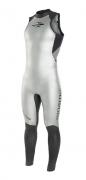 Roupa de Borracha Long John Sem Manga Backzip 3/1mm Feminino Triathlon Mormaii Preto/Cinza Escuro
