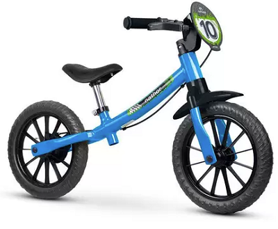 Bicicleta Infantil Balance de Equilíbrio Nathor Azul/Preto