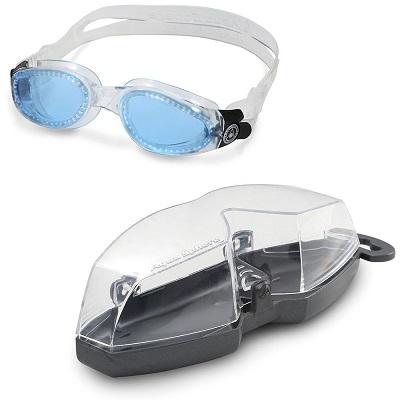 Óculos de natação aqua sphere kaiman transparente - lente azul