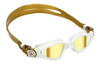 Óculos de natação aqua sphere kayenne compact fit branco/dourado - lente titanium dourada