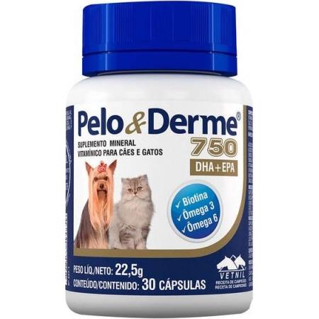 PELO E DERME 750MG 30CP