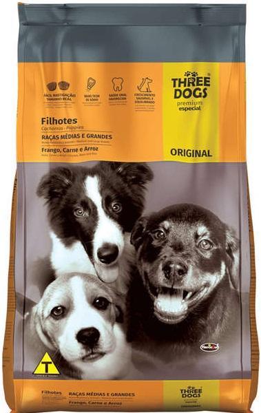 THREE DOGS ORIGINAL FILHOTES MED E GDES 15KG